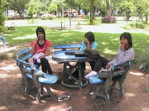 Students on break in the park