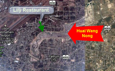 Map to Lily Restaurant Ubon